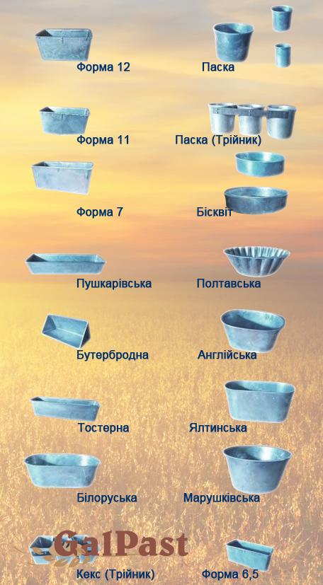 """Блок з 5 трикутних форм алюмінієвих хлібопекарних. Форма """"Трикутна"""" (посилена), до 500 г. тіста - 1"""