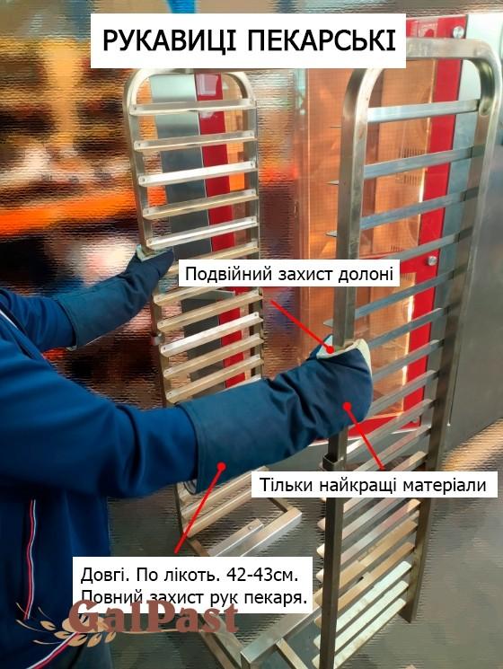 Рукавиці пекарські «Посилені Люкс». Термостійкі. З додатковим шаром термостійкого та водостійкого силікону на долонях. Подвійний захист долоні. Довгі 42-43см. Темно-сині з рожевою долонею. До 300 °C - 2