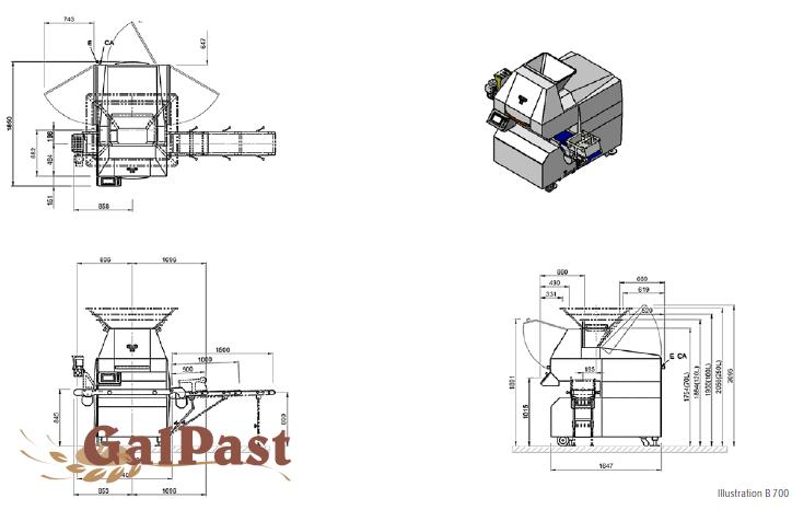 Ділитель тіста вакуумний Werner & Pfleiderer PARTA B-700, модель №2, 400-2100грам, 1000-3000шт/год. Б/У. 2007 рік - 9
